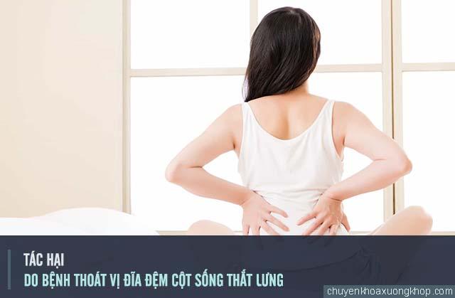 Những tác hại do bệnh thoát vị đĩa đệm cột sống thắt lưng gây ra