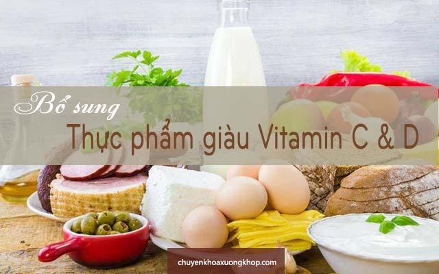 bị tràn dịch khớp gối nên bổ sung thực phẩm giàu vitamin c và d