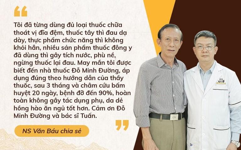 Nghệ sĩ Văn Báu chia sẻ về hành trình chữa thoát vị đĩa đệm tại Đỗ Minh Đường
